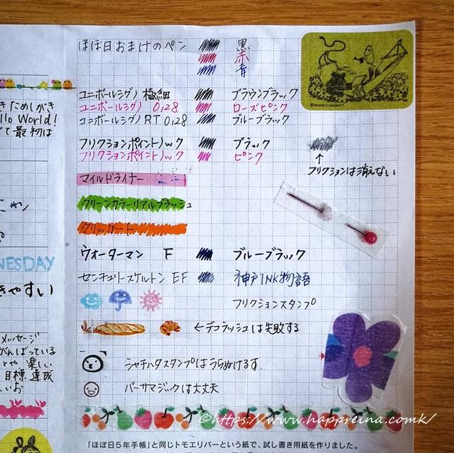 ほぼ日手帳5年日記の試し書きをした表の写真です
