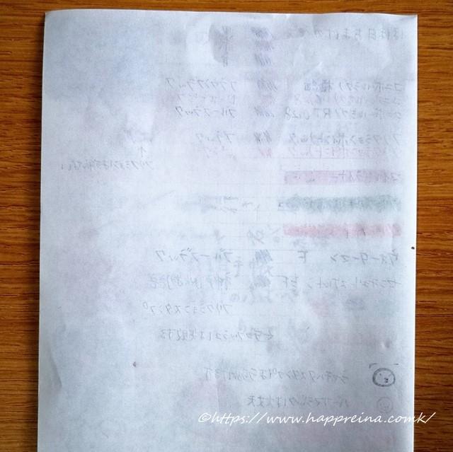 ほぼ日手帳5年日記の試し書きをした裏の写真です。