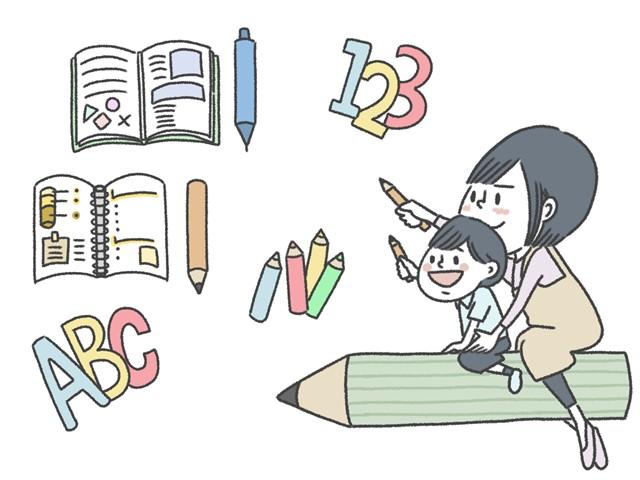 子どもと一緒に勉強しているイラスト