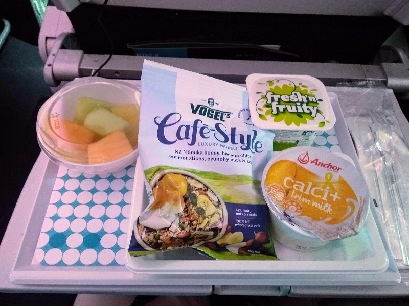 ニュージーランド航空エコノミー朝食