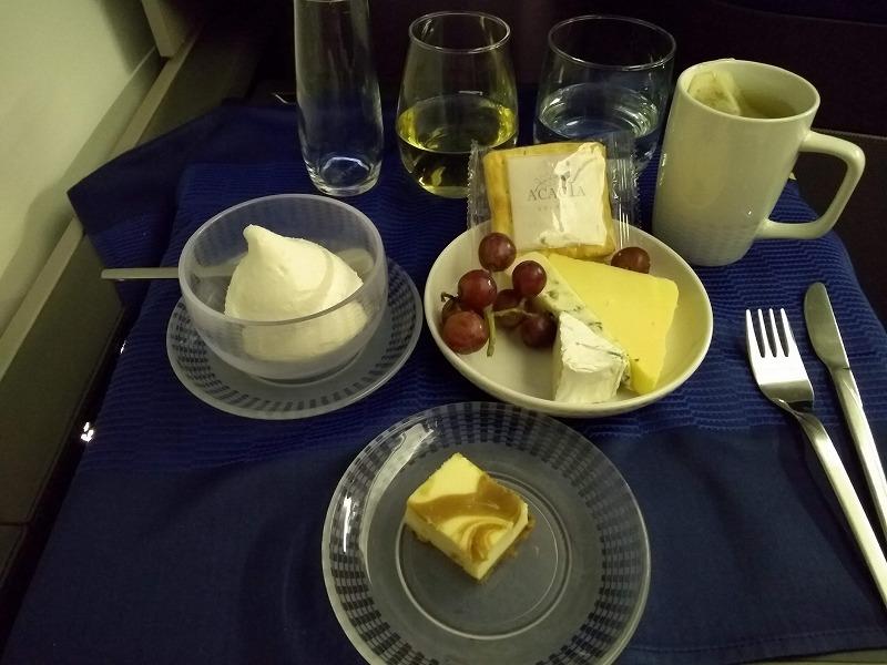 ユナイテッド航空ビジネスクラス 食事