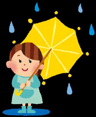 雨の日に傘をさしている女の子