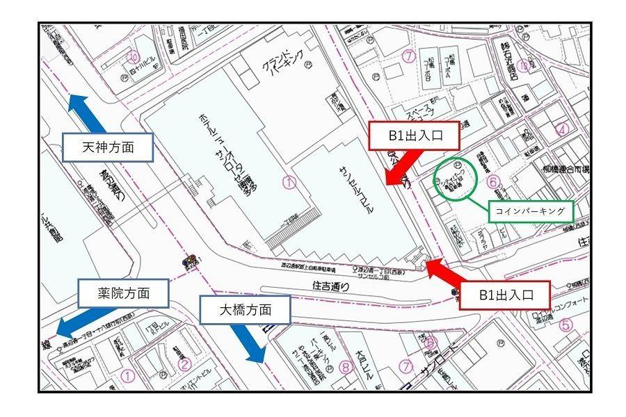 渡辺通優良運転者免許更新センター周辺マップ