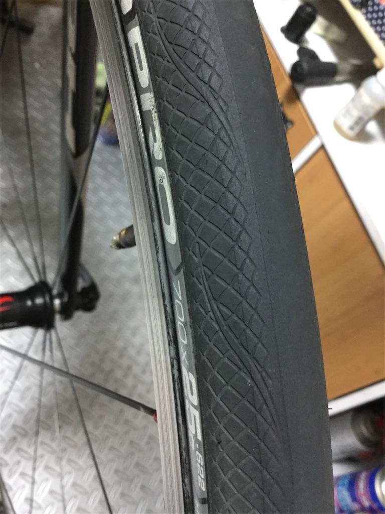 8000km乗ったRubino Pro G+のフロントタイヤ