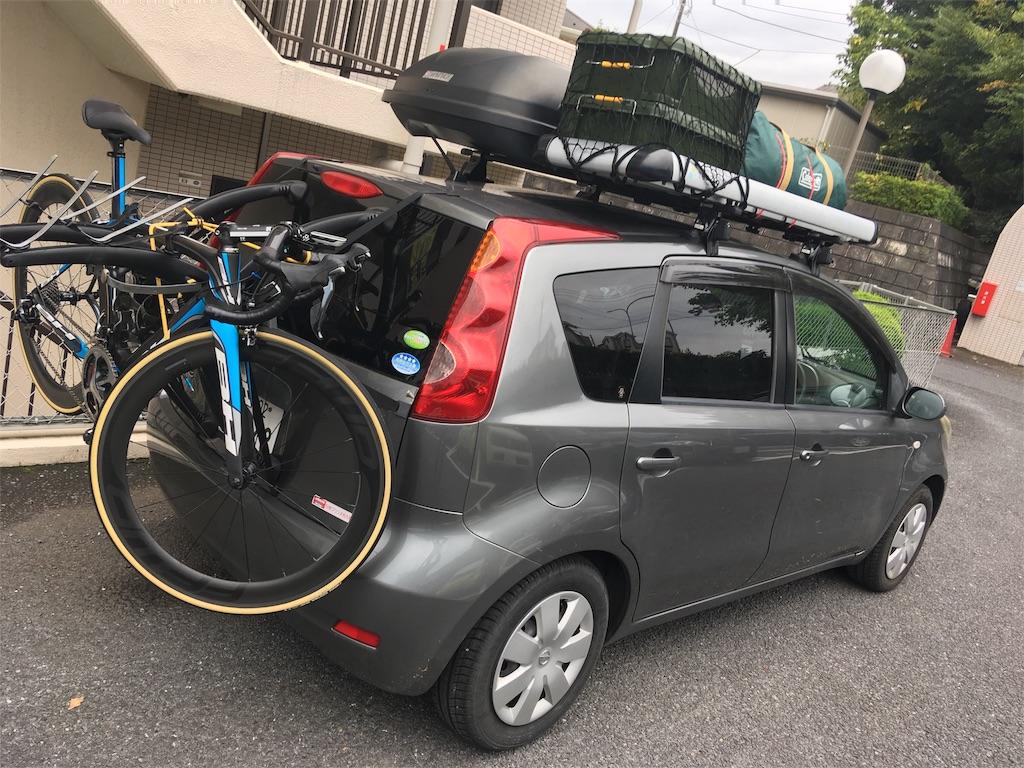 日産ノートにキャンプ用品&自転車の用意満載
