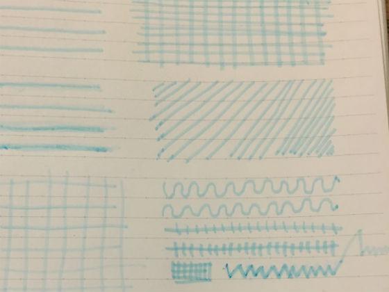 かすれたインクの線ペンで落書き