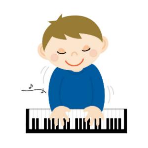 男の子がピアノを弾いているイメージ