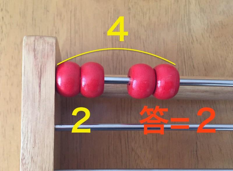 百玉そろばん:4をふたつに分ける