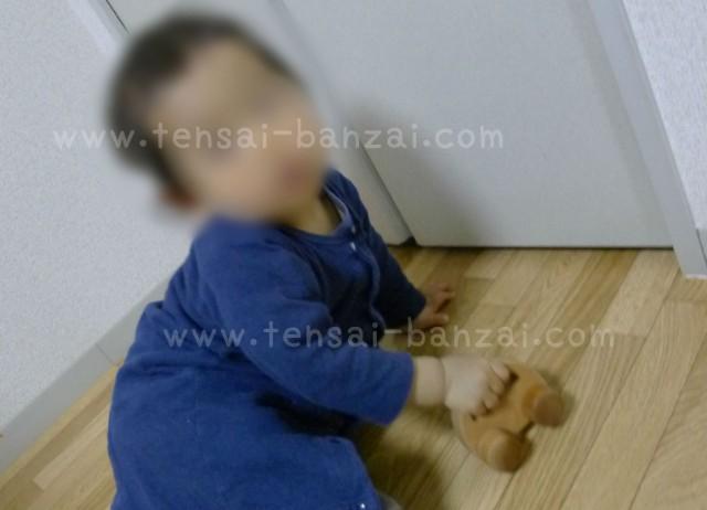 なかよしライブラリーの木のおもちゃで遊んでいる
