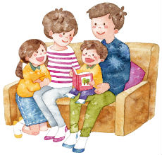 家族でベビーサインの本を楽しんでいるイメージ