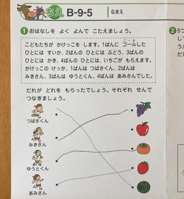 七田式プリントBちえの問題