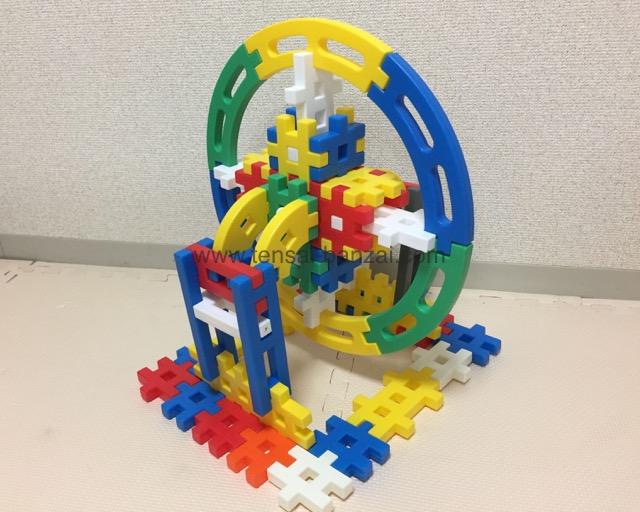 学研ニューブロック観覧車の作り方:斜めアングル完成図