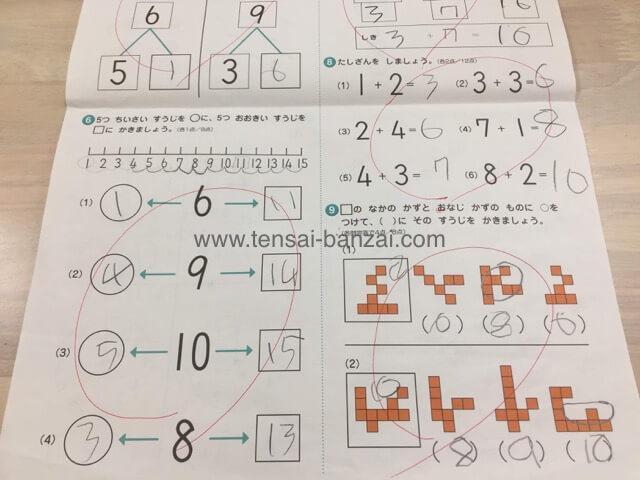 七田式プリントB「かず」修了テスト