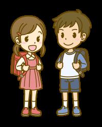 女の子が赤、男の子が黒のランドセルのイラスト