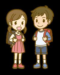 女の子が黒、男の子が赤のランドセルのイメージ