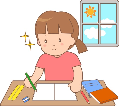 朝学習している小学生のイメージ