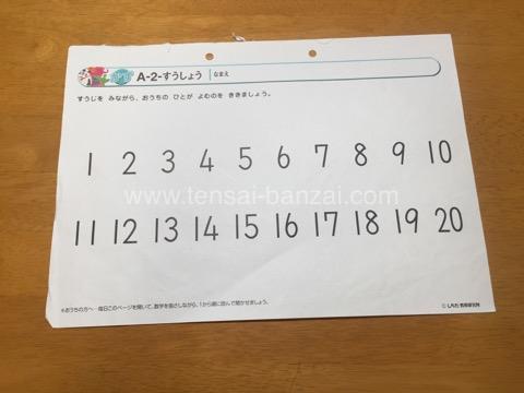 七田式プリントA 2ヶ月目