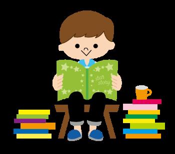 たくさんの絵本を読む子供のイメージ