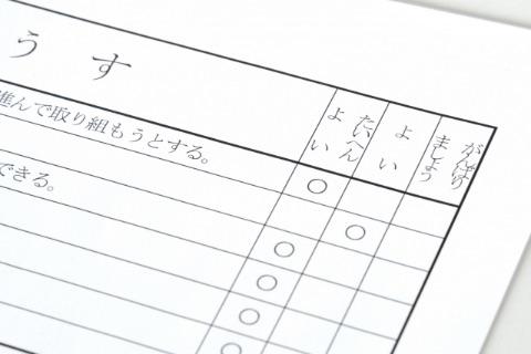 通知表の評価のイメージ