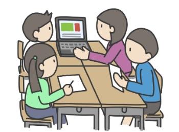 学校でグループでタブレット学習をしている画像