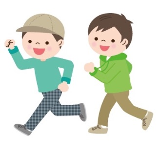 友達と公園で遊ぶ小学生男子2人のイメージ