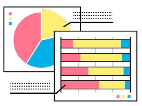 テストデータを比較しているイメージ