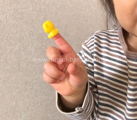 くまのひもとおしの人形を指にはめているところ