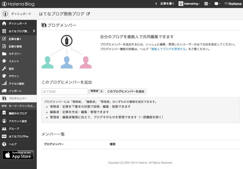 ブログメンバー設定画面