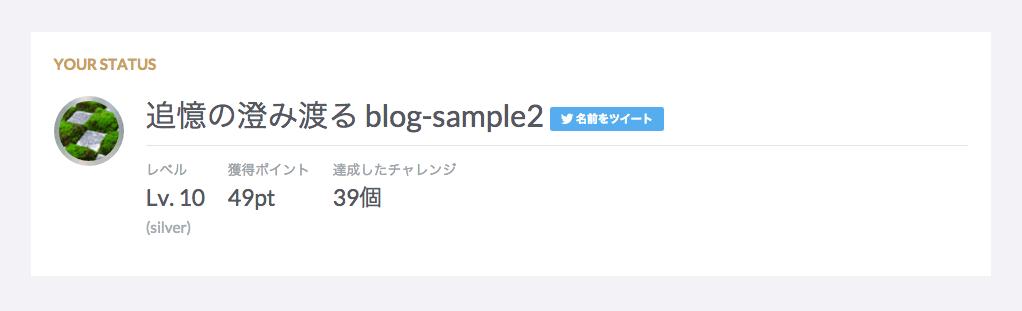 ブログチャレンジのユーザーページ