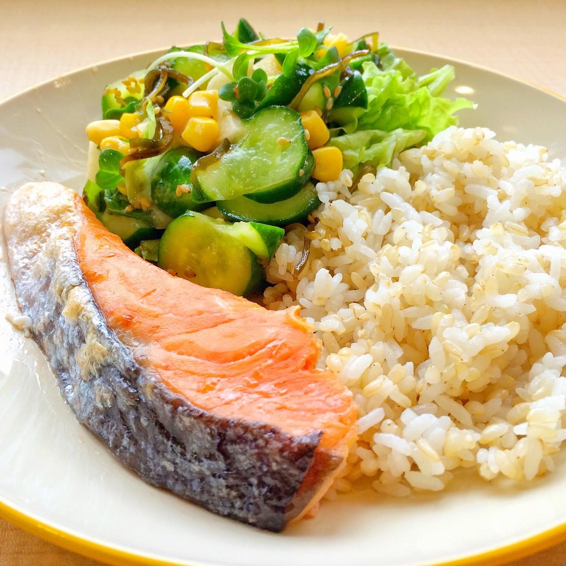 まかないランチ:鮭の塩焼き