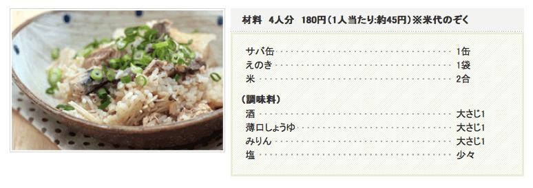 さば缶DE炊き込みご飯:レシピ - リンナイ