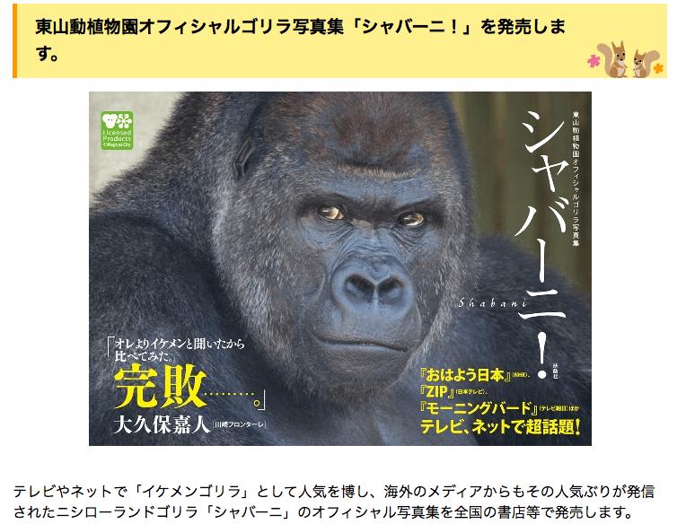 東山動植物園オフィシャルゴリラ写真集「シャバーニ!」を発売します。|東山動植物園