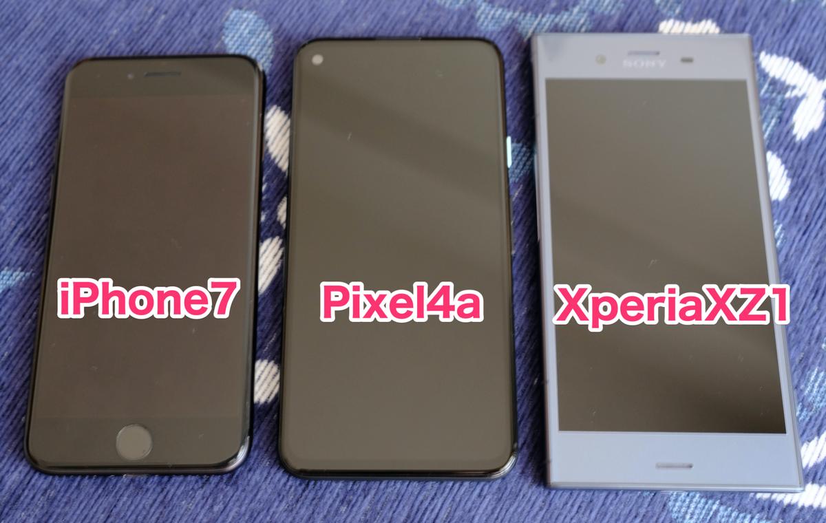 GooglePixel4a他機種との大きさ比較
