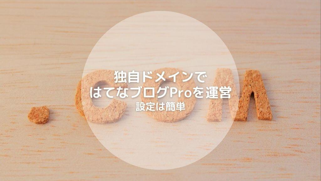独自ドメインではてなブログProを運営 設定は簡単