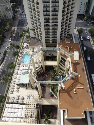 ハイアットリージェンシーワイキキ タワーの間、上からの写真