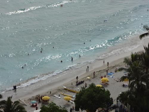 ホテルから見たワイキキビーチ