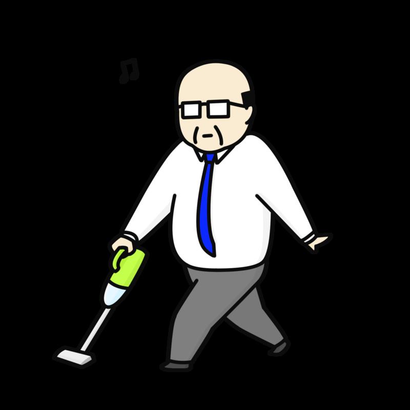 掃除するおじさん