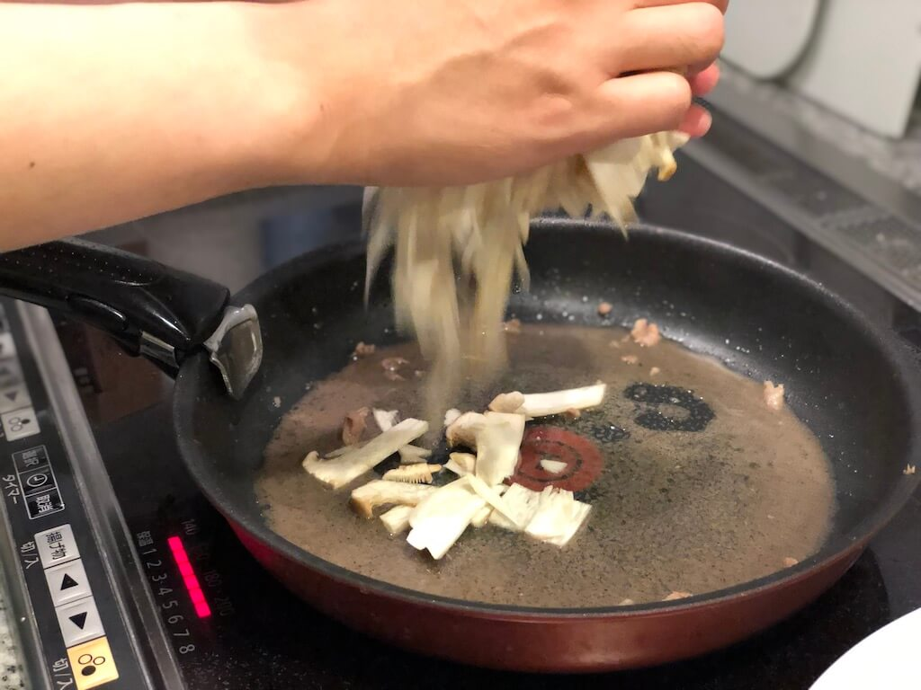 豆板醤 牛肉とエリンギ
