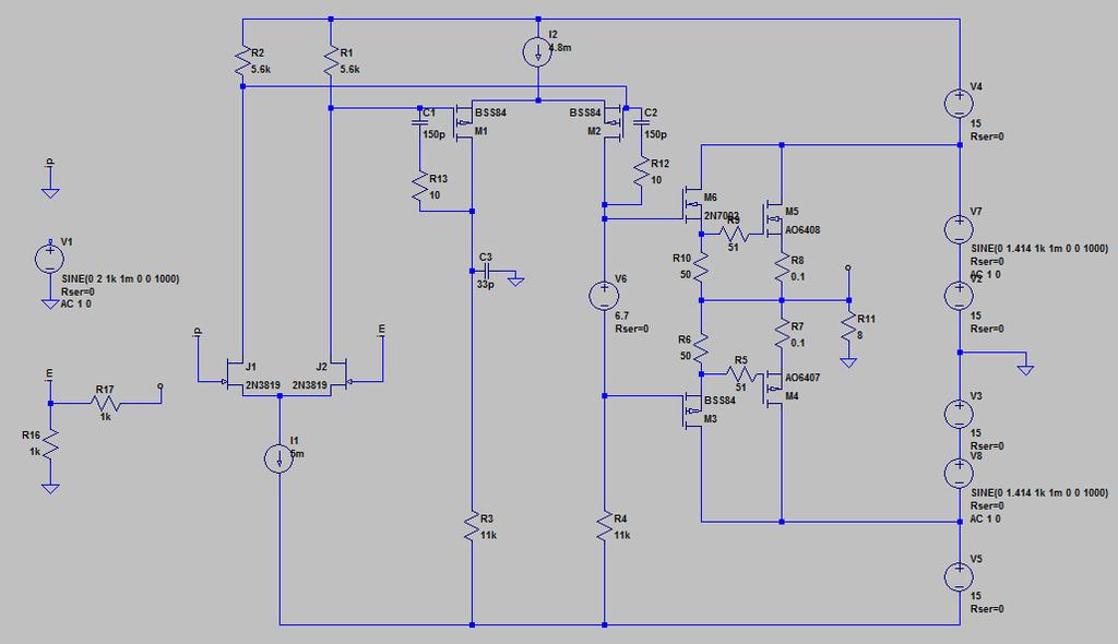 電源に正弦波を加えた回路