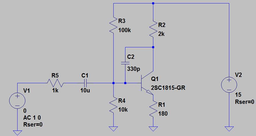Cを追加したエミッタ接地回路