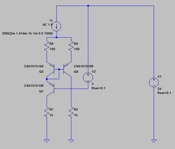 ベース接地と組み合わせた回路