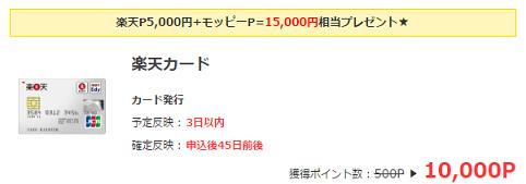 モッピーで15000円もらえる
