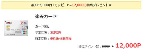 楽天カード入会で12000円プレゼント