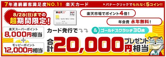 楽天カード入会で今だけ2万円もらえる