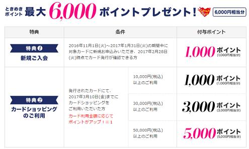 ときめきポイント6000円相当もらえる