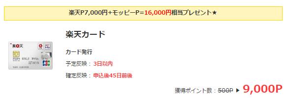 楽天カード入会で16000円もらえる