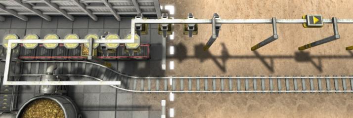 クレーン列車木枠ブロッカーの設置例
