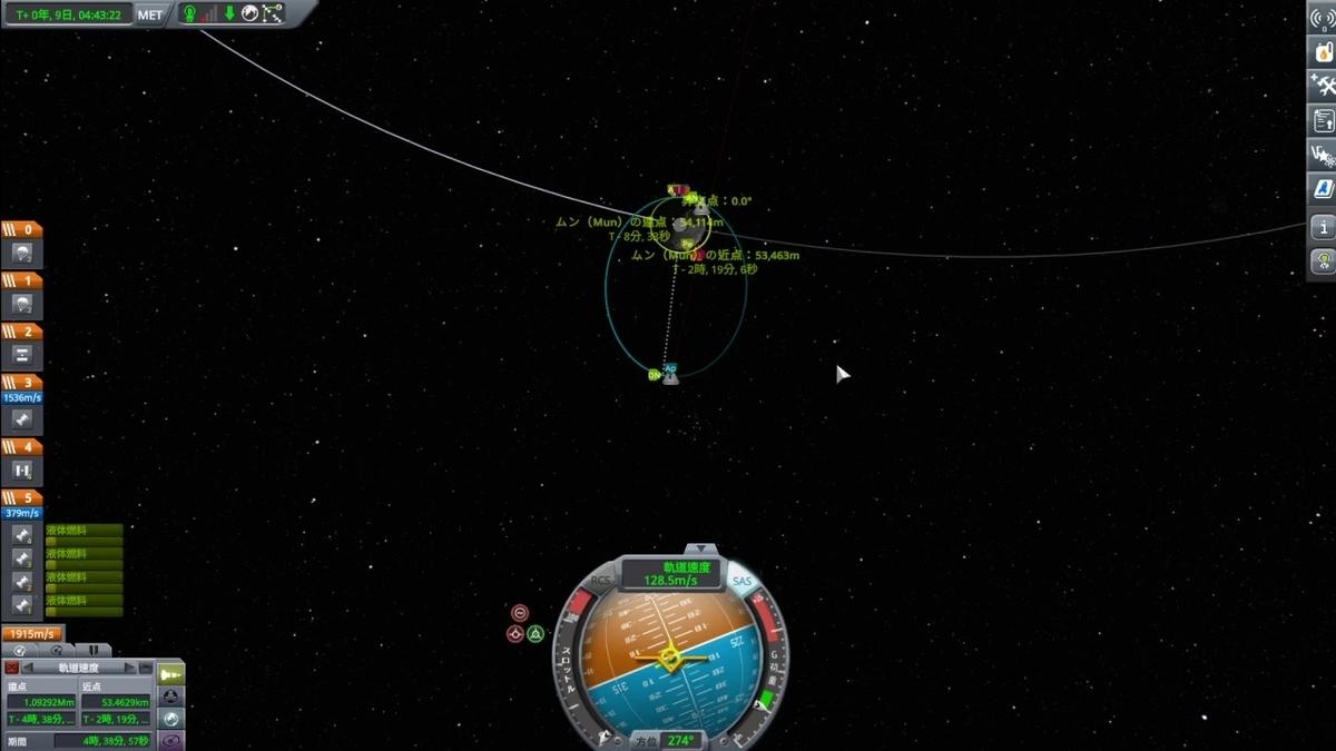 周回軌道の近点を合わせる