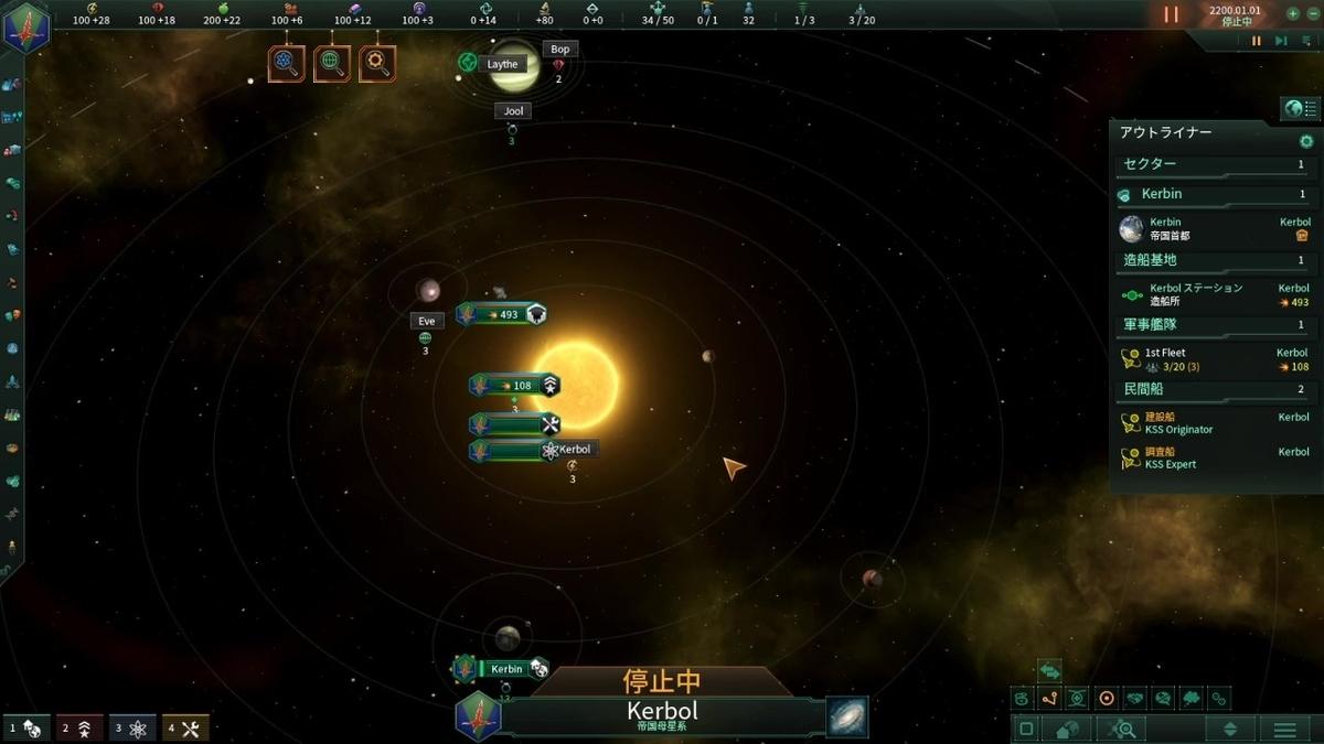 開始時の星系