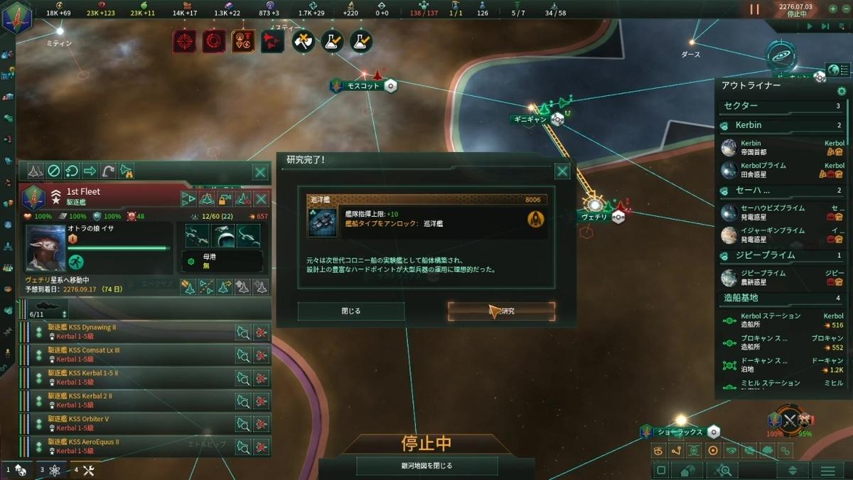 巡洋艦の研究完了